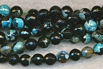 8mm Faceted Round TURQUOISE and BLACK Fire Agate Beads Strand