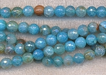 8mm Faceted Round Blue Fire Agate Beads, Full Strand