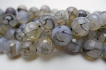 Grey Dragon Vein Agate Beads, 10mm Faceted Round, Full Strand