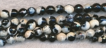 Black Cream 8mm Faceted Round Fire Agate Beads Strand
