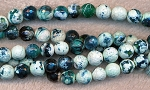 8mm Faceted Round White Green Fire Agate Beads Strand