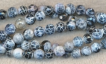 Grey Black 8mm Faceted Round Fire Agate Beads Strand