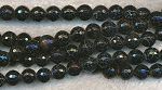 8mm Round Black Fire Agate Beads, Faceted - CLEARANCE