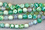 8mm Faceted Round Green Fire Agate Beads Strand