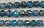 10mm Faceted Round Aquamarine Dragon Vein Agate Beads, Strand