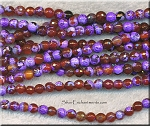 Purple-Carnelian Fire Agate Beads, 6mm Faceted Round Bead Strand