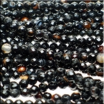 6mm Faceted Round Natural Black Agate Beads Strand