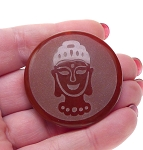Gemstone Buddha Pendants, Large Carved Carnelian Buddha Pendant Bead 40mm Gautama Buddha (1)
