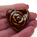 Brown Glazed Porcelain Rose Heart Focal Beads with 3mm Hole