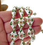 Cloisonné Beads, White-Gold Cloisonne Diamond Floral Beads, 20mm x 13mm (4)
