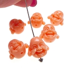 Coral Laughing Buddha Beads, Budai Hotei Buddha Charm Beads 15x12mm with 2mm Hole