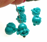 Turquoise Laughing Buddha Beads, Budai Hotei Buddha Charm Beads, 15x12mm with 2mm Hole