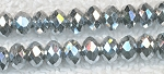 4mm Crystal Rondelle Beads Strand, BRIGHT METALLIC SILVER - CLEARANCE