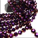 8mm Round Crystal Beads, GOLD SPARK ELECTRIC PURPLE