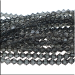 6mm Crystal Bicone Beads Strand, BLACK DIAMOND