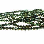 3mm Metallic GREEN Bicone Crystal Beads Strand