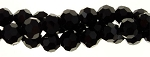 4mm Round Crystal Beads, BLACK