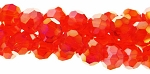 4mm Round Crystal Beads, DARK ORANGE AB