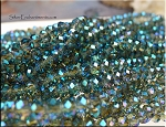 4x6mm Crystal Rondelle Beads Strand, BLUE TEAL KISSED TOPAZ