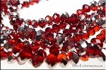 8mm Rondelle Crystal Beads, RUBY RED SILVER