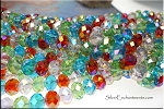 8x10mm Crystal Rondelle Beads Strand, DESIGNER MIX Peridot Green, Light Pink, Siam Red, Blue Topaz