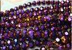 10mm Round Crystal Beads Strand, PURPLE GOLD