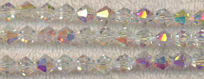 8mm Bicone CRYSTAL AB Crystal Beads