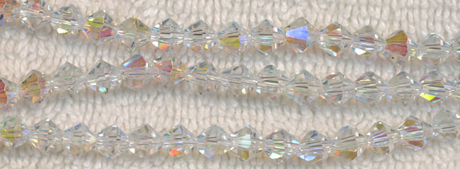 4mm Bicone CRYSTAL AB Crystal Beads