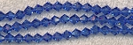 6mm Crystal Bicone Beads Strand, SAPPHIRE BLUE - CLEARANCE