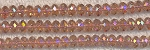 Chinese Crystal Rondelle Bead Strand, ROSE AB, 3x4mm