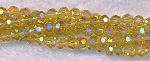 4mm Round Crystal Beads Strand, YELLOW AB Strand - CLEARANCE