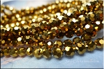 6mm Round Crystal Beads Strand, METALLIC GOLD