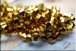 6mm Crystal Bicone Beads Strand, METALLIC GOLD