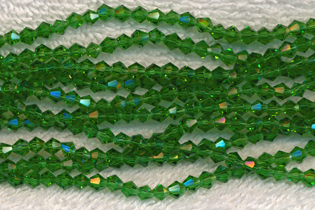 4mm Bicone EMERALD Crystal Beads