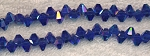 Dark SAPPHIRE Crystal Briolette Beads, 6x7mm Top Drilled Bicone Crystal Beads - CLEARANCE