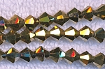 6mm Crystal Bicone Beads Strand, METALLIC ANTIQUE GOLD