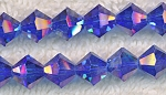 8mm Bicone SAPPHIRE AB Crystal Beads - CLEARANCE