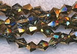 6mm Crystal Bicone Beads Strand, BLACK DIAMOND-HALF METALLIC COPPER