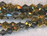 6mm Crystal Bicone Beads Strand, BLACK DIAMOND-HALF METALLIC GOLD
