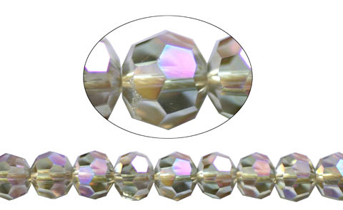 6mm Round Crystal Beads, SILVER SHADE AB