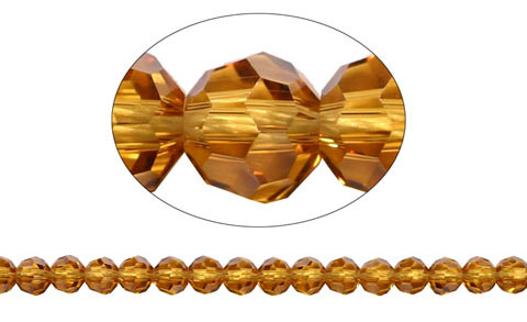 6mm Round Crystal Beads, TOPAZ
