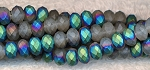 6mm Rondelle Crystal Beads, MATTE Half TEAL RAINBOW AB Crystal Beads