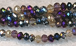 Chinese Crystal Rondelle Bead Strand, DESIGNER MIX Metallic Purple, Hematite, Silver, Crystal, Gunmetal, 3x4mm
