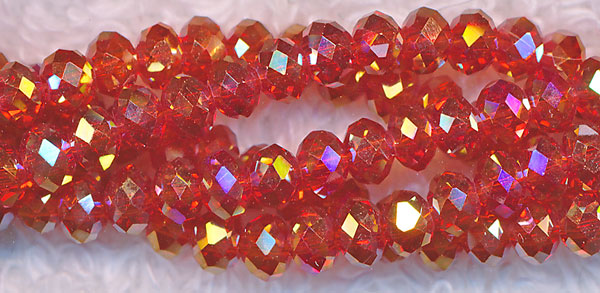 4mm Rondelle Crystal Beads, SIAM RED AB