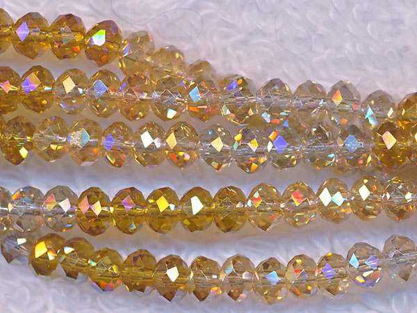 4mm Rondelle Crystal Beads, YELLOW DESIGNER MIX