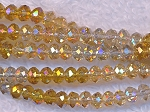 Crystal Rondelle Beads Strand, YELLOW DESIGNER MIX, 3x4mm