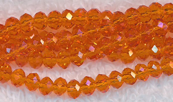 4mm Rondelle Crystal Beads, ORANGE