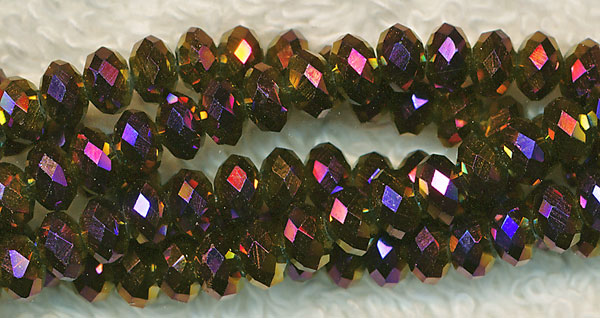 4mm Rondelle Crystal Beads, METALLIC GOLD PURPLE