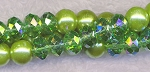 8mm Glass Pearls and Crystal Beads Mix, GREEN