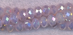 Crystal Rondelle Beads Strand, OPAQUE PINK JADE AB, 3x4mm